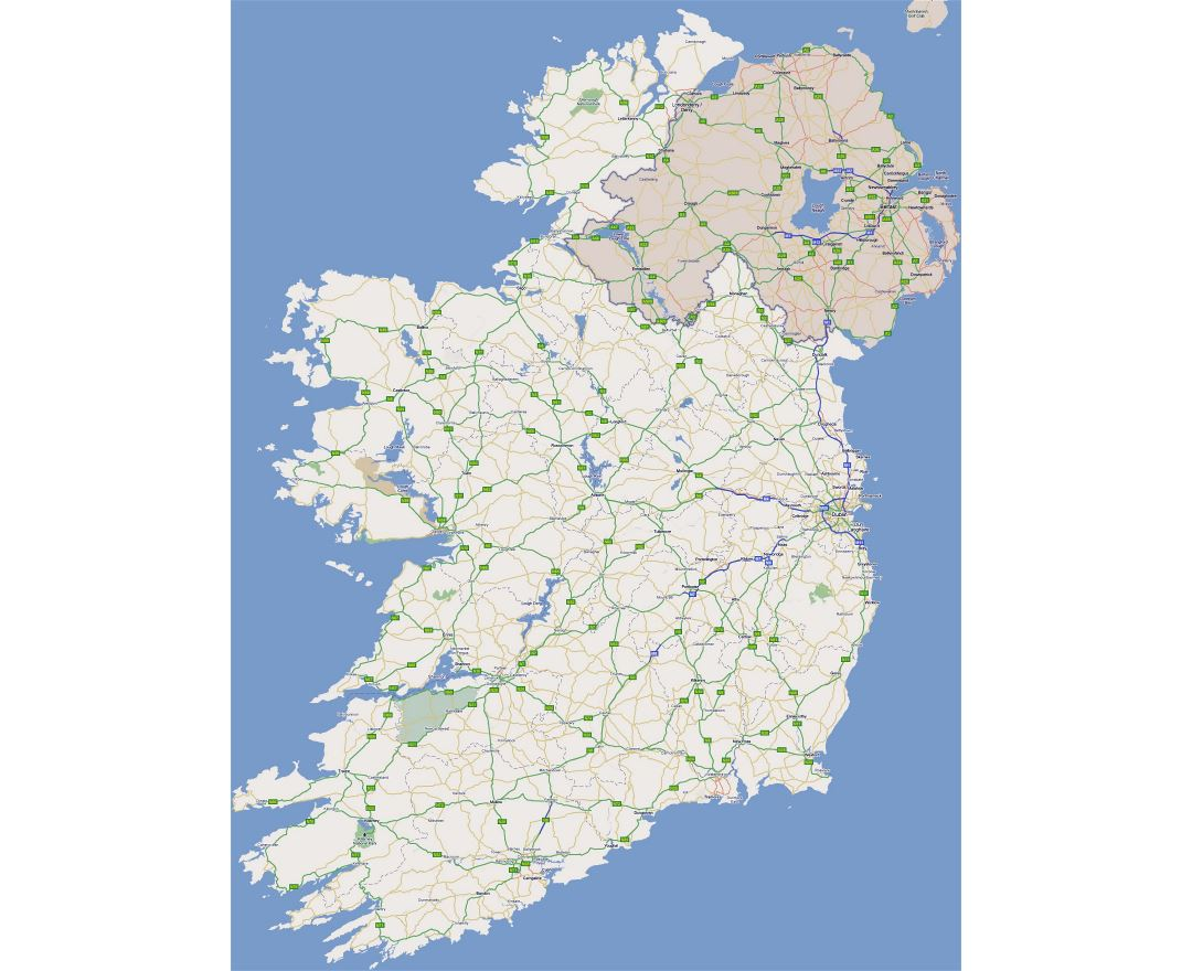 Large road map of Ireland with cities