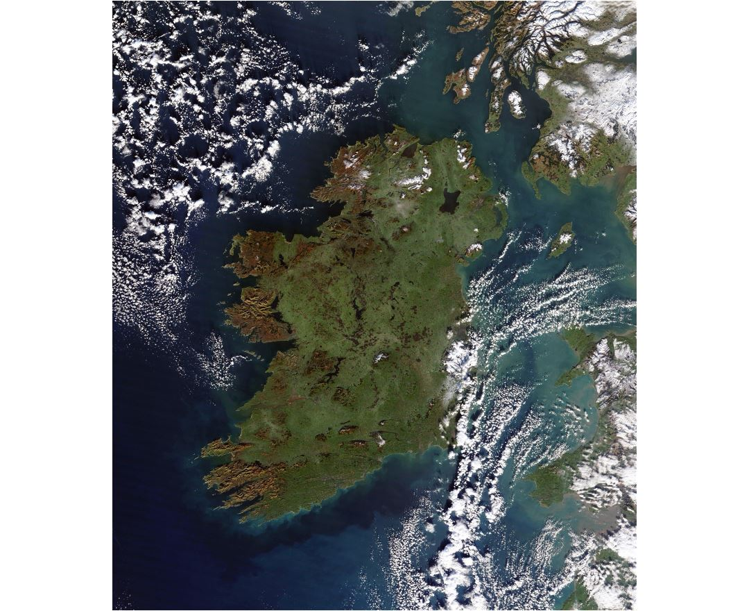 Large satellite map of Ireland