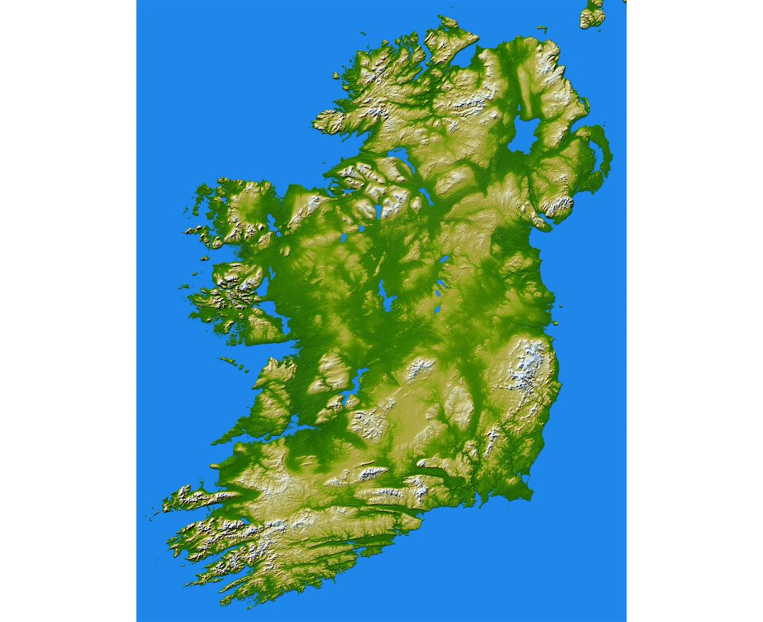 Large scale detailed topographical map of Ireland