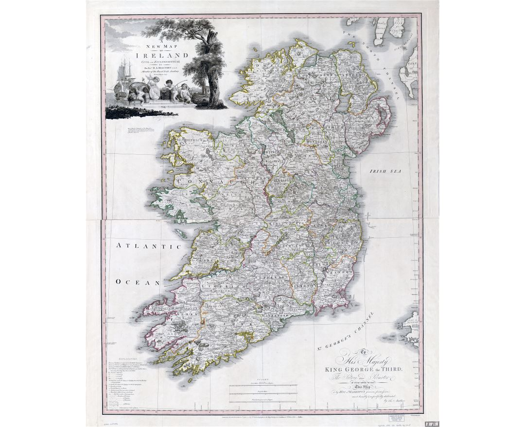 Large scale old political and administrative map of Ireland - 1797