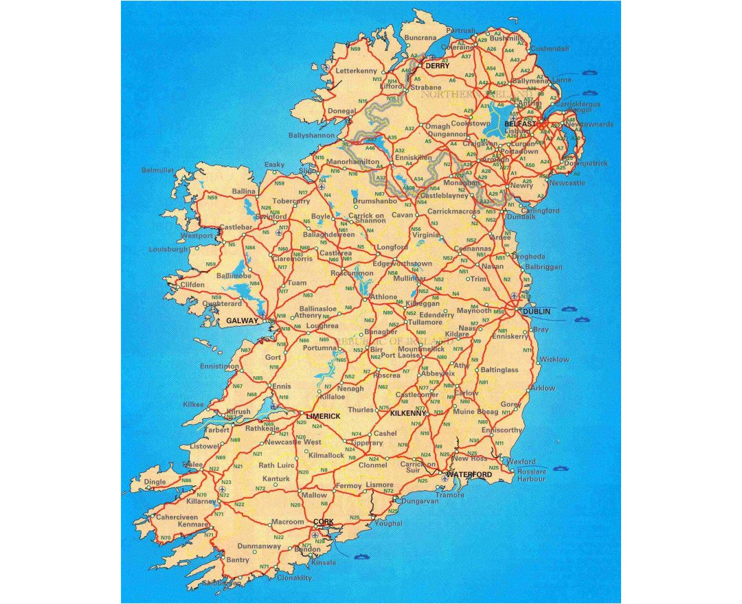 Large scale road map of Ireland