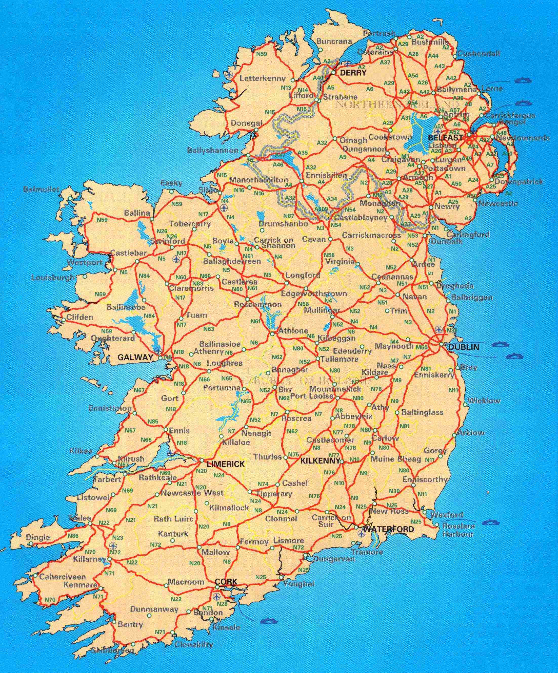 Large scale road map of Ireland Ireland Europe Mapsland Maps