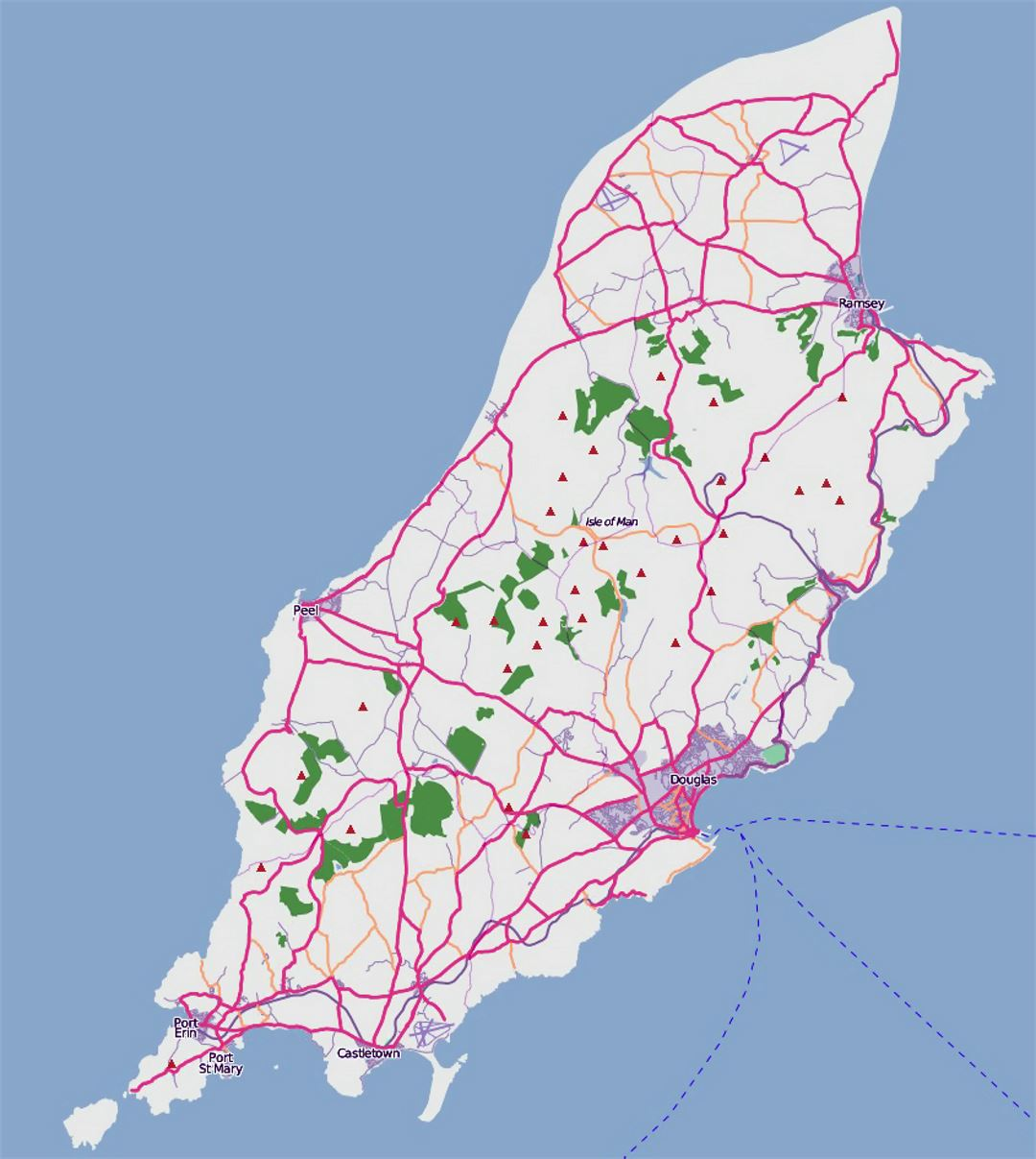 Detailed road map of Isle of Man Isle of Man Europe Mapsland