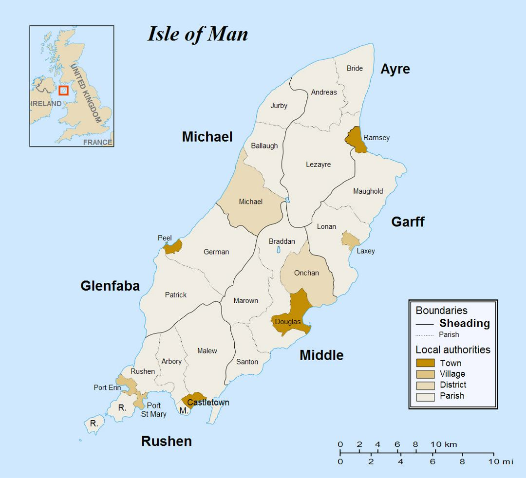 Large administrative map of Isle of Man