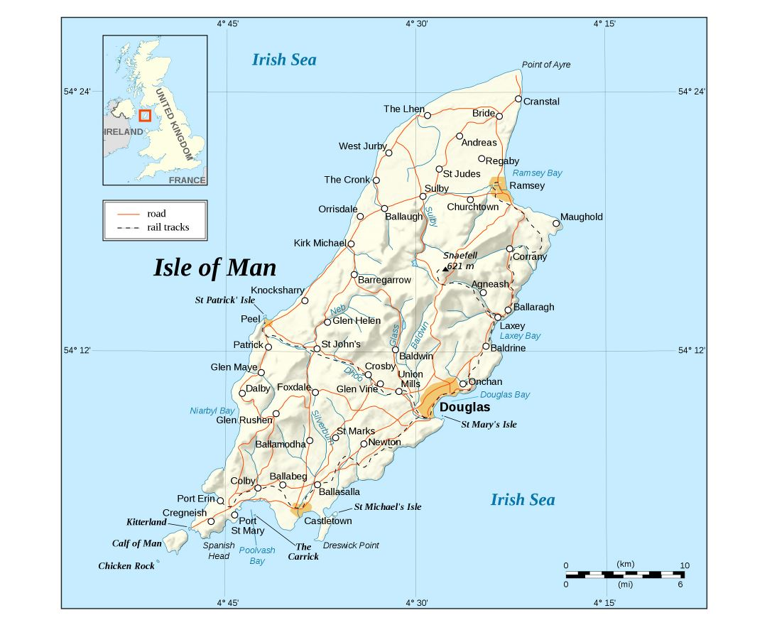 Large detailed map of Isle of Man with relief, roads and cities
