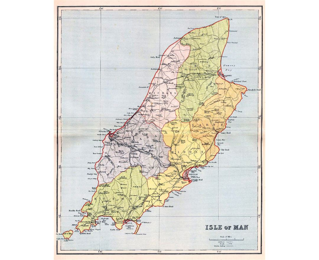 Large detailed old administrative map of Isle of Man