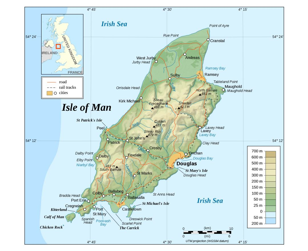 Large detailed physical map of Isle of Man with roads and cities