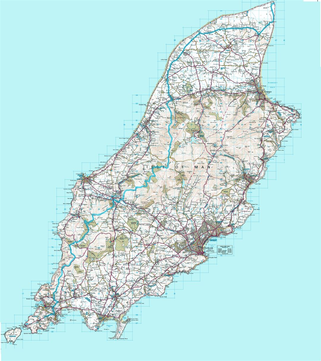 Large detailed topographical map of Isle of Man