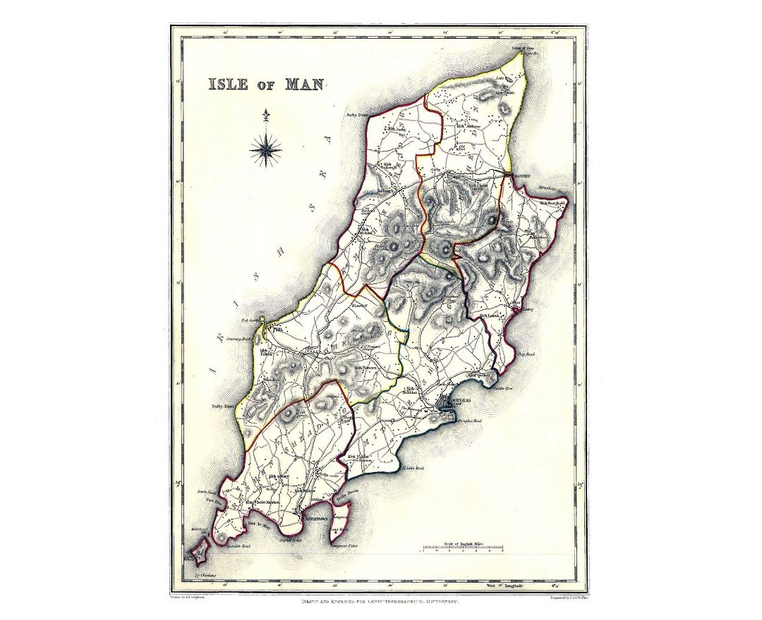 Large old administrative map of Isle of Man - 1848
