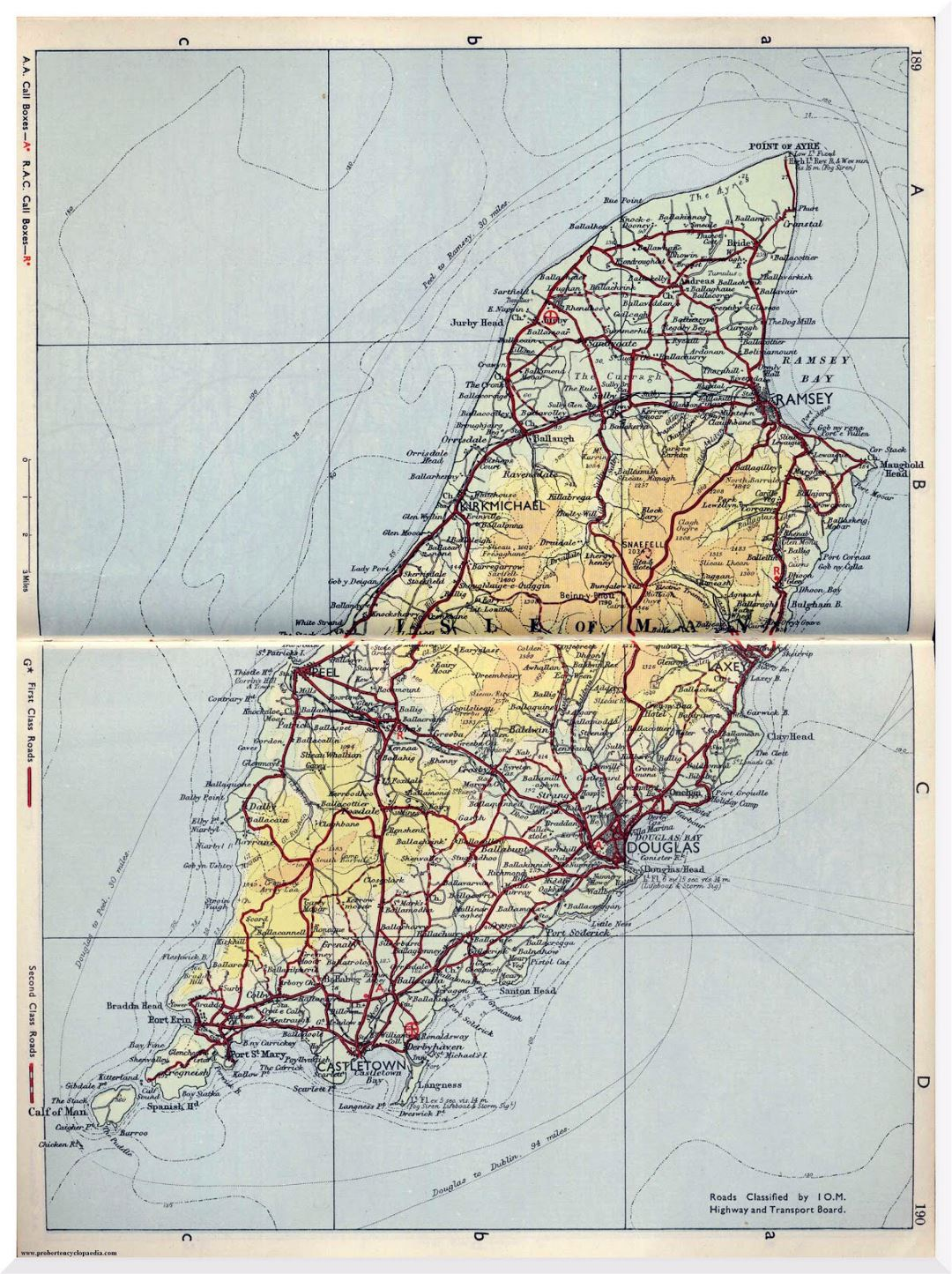 Large old road map of Isle of Man