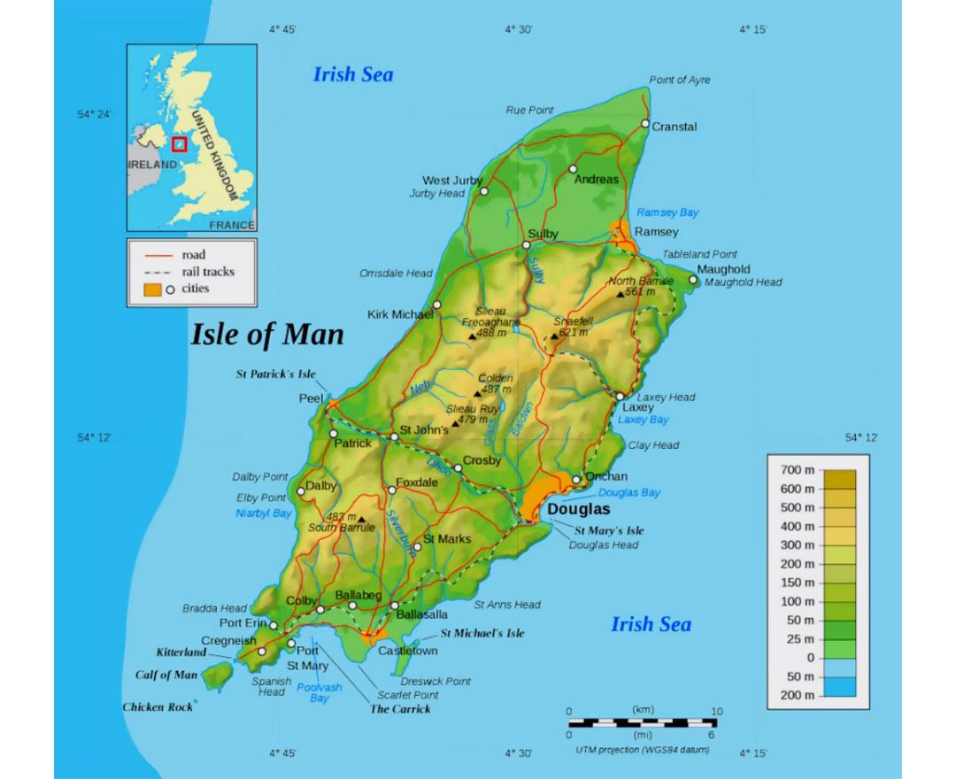 Large physical map of Isle of Man