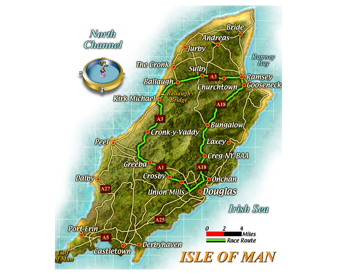 Large road map of Isle of Man with cities