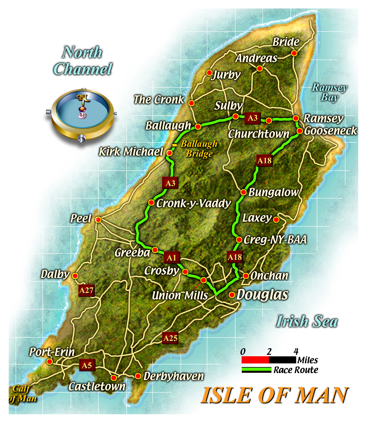 Large Road Map Of Isle Of Man With Cities Isle Of Man Europe - Isle of man map