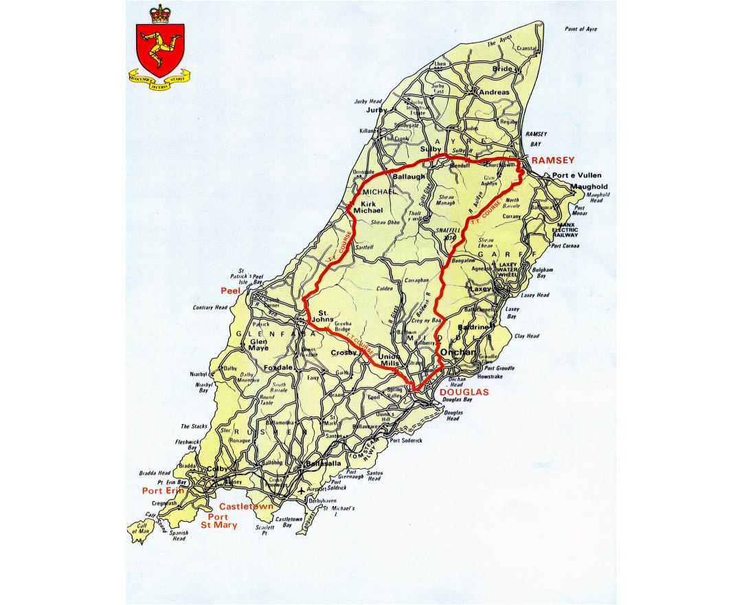 Large scale road map of Isle of Man