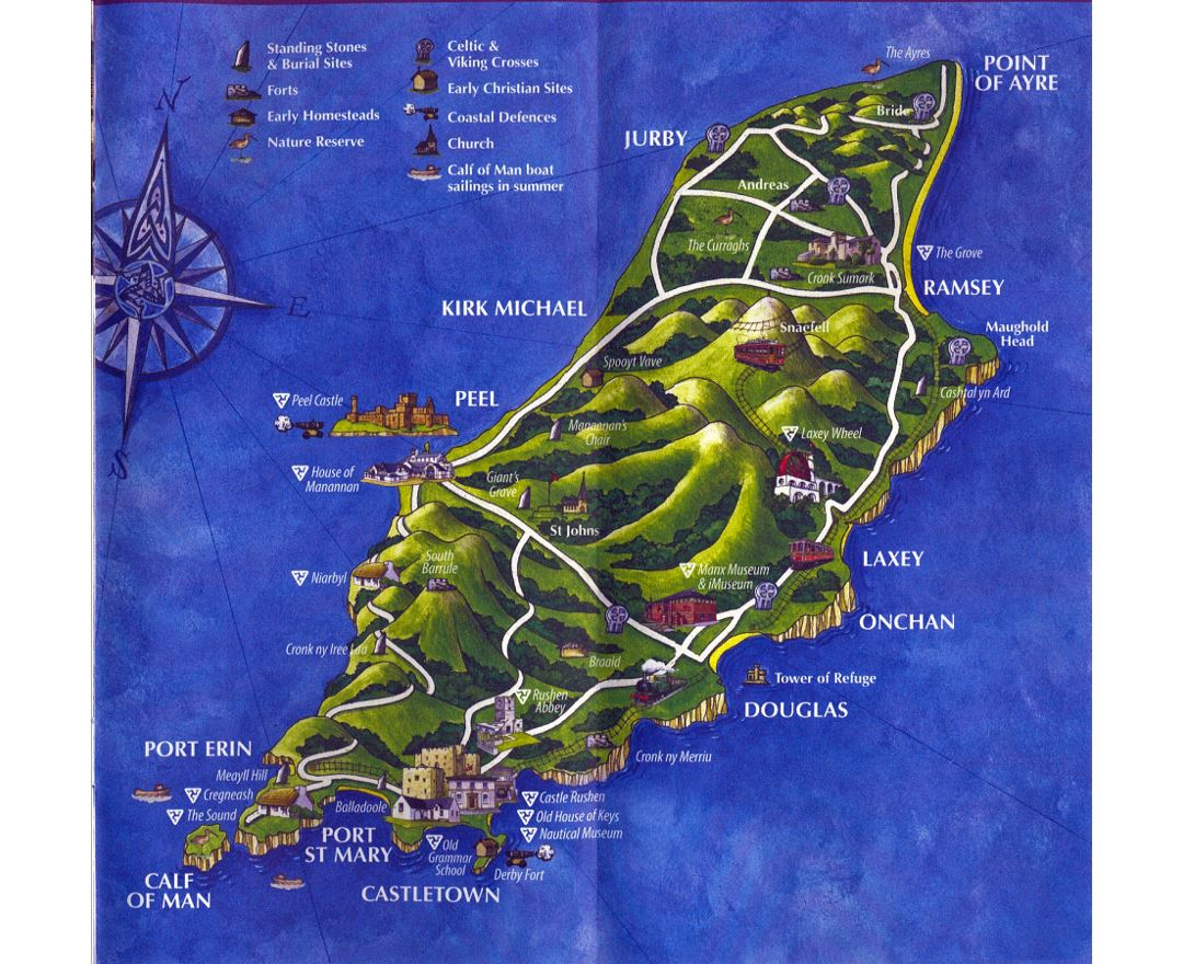 Large tourist illustrated map of Isle of Man