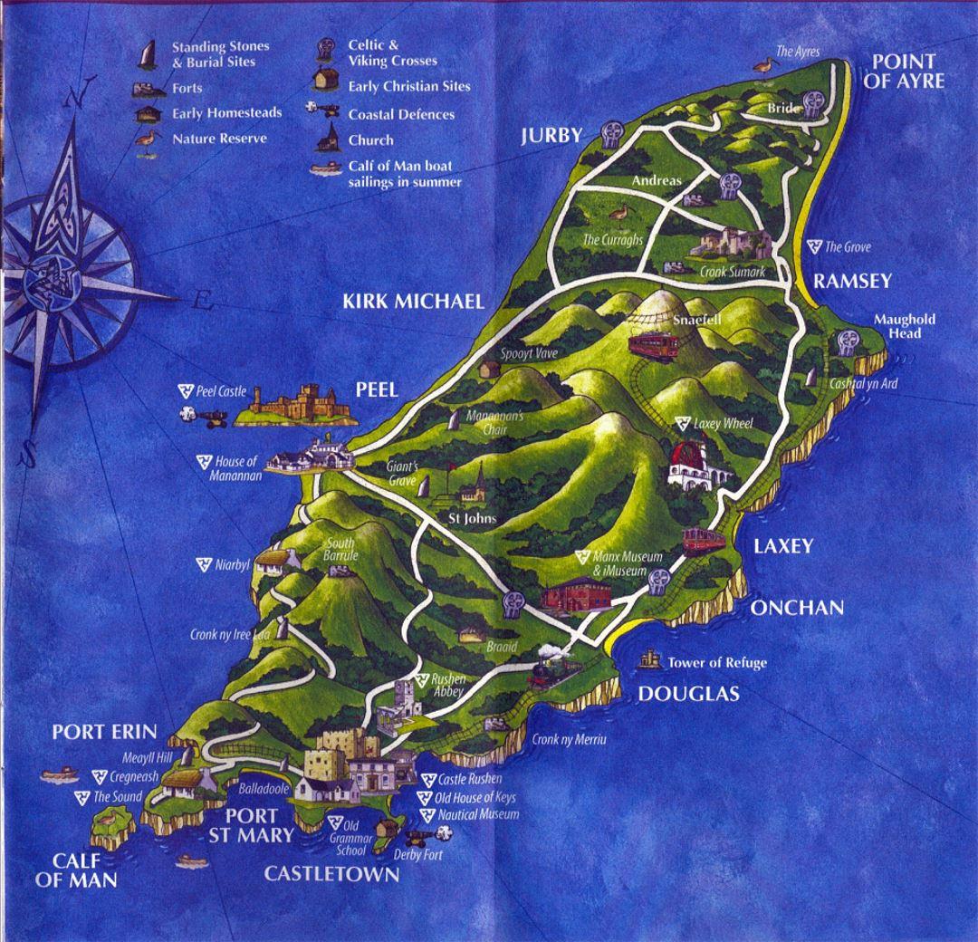 Large tourist illustrated map of Isle of Man Isle of Man Europe