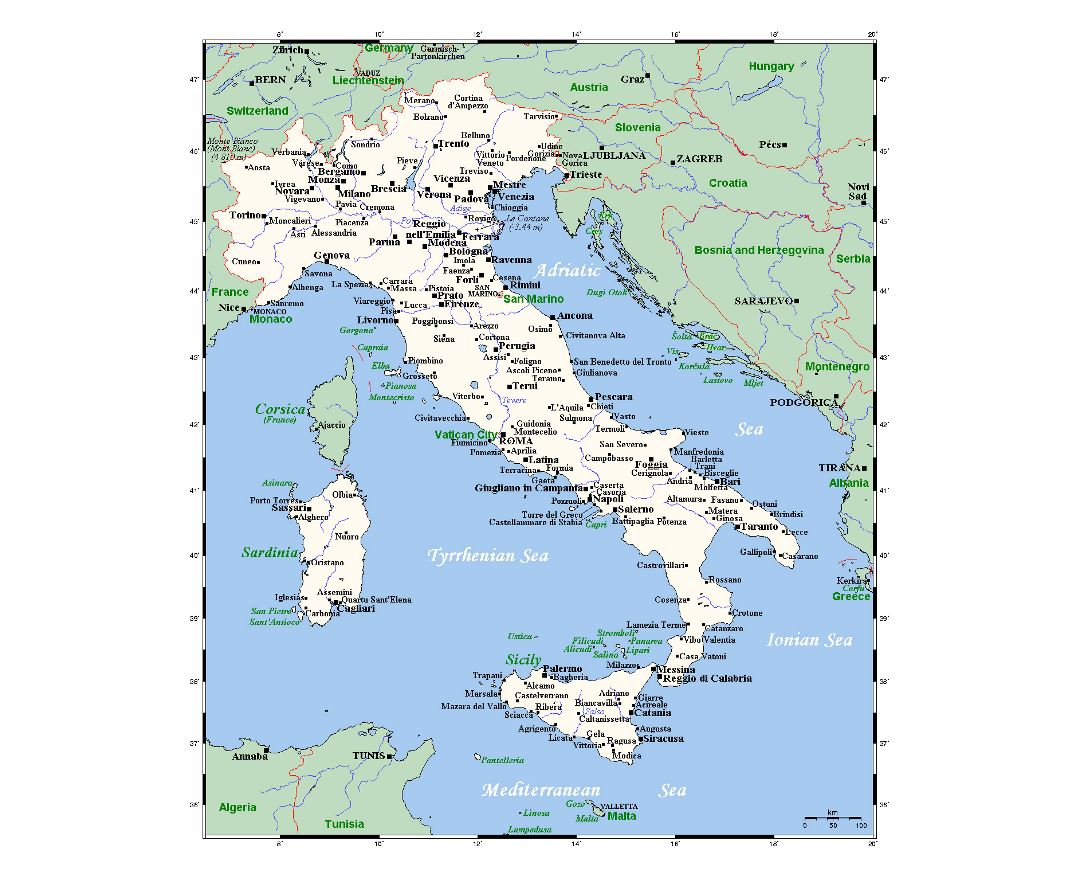 Detailed map of Italy with major cities