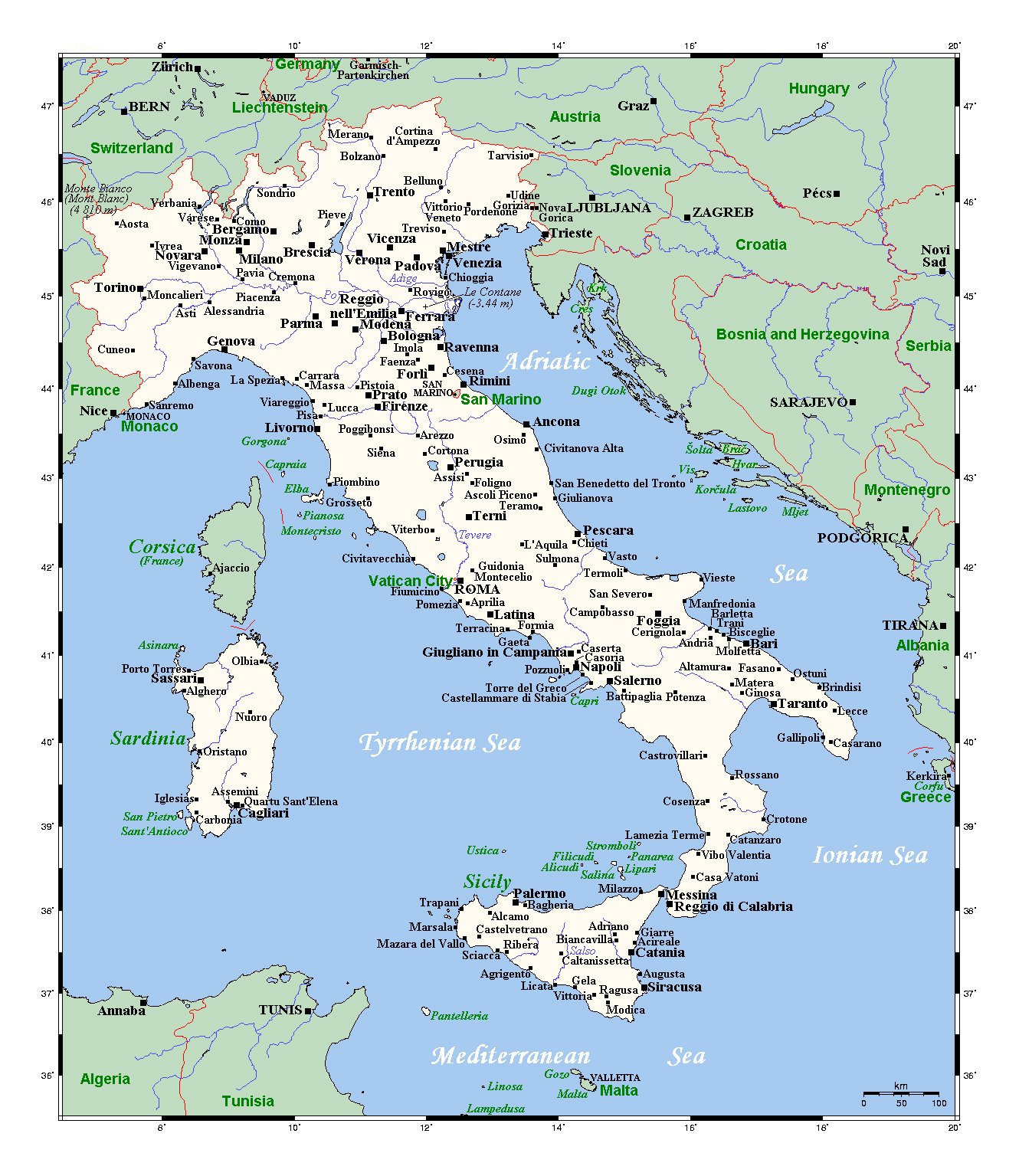 Detailed Map Of Italy With Major Cities Italy Europe - Map of italy with cities