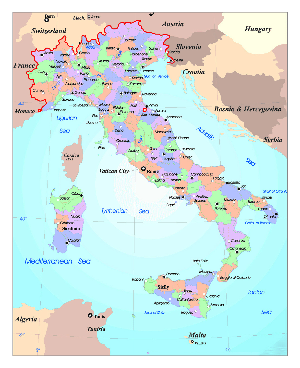 Map Of Italy With Major Cities Detailed political and administrative map of Italy with major