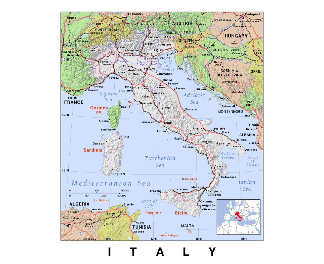 Detailed political map of Italy with relief