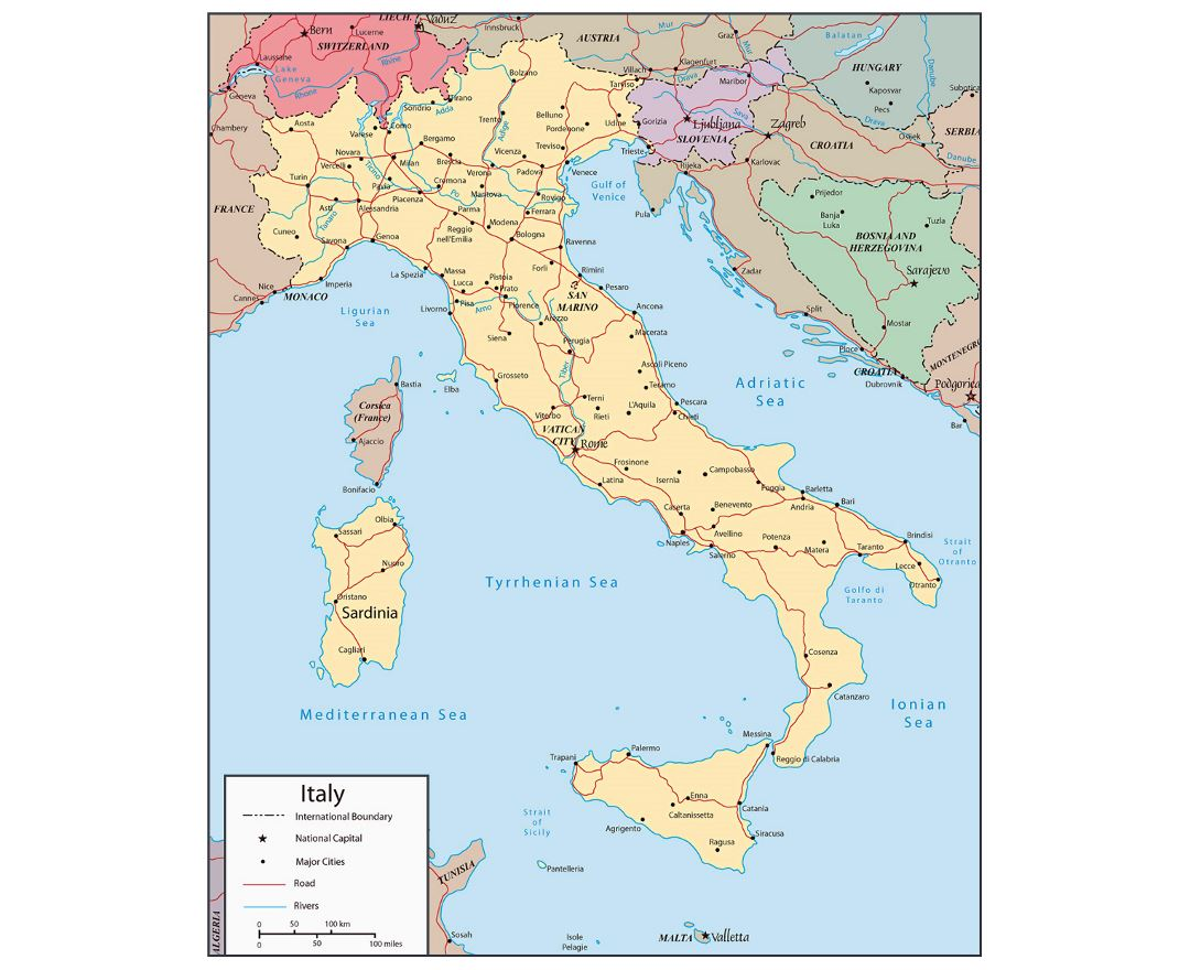 Detailed political map of Italy with roads, rivers and major cities