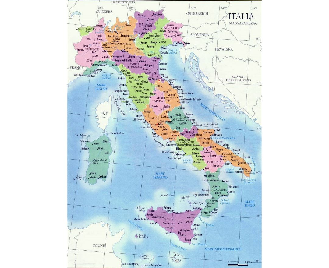 Detailed regions map of Italy with major cities