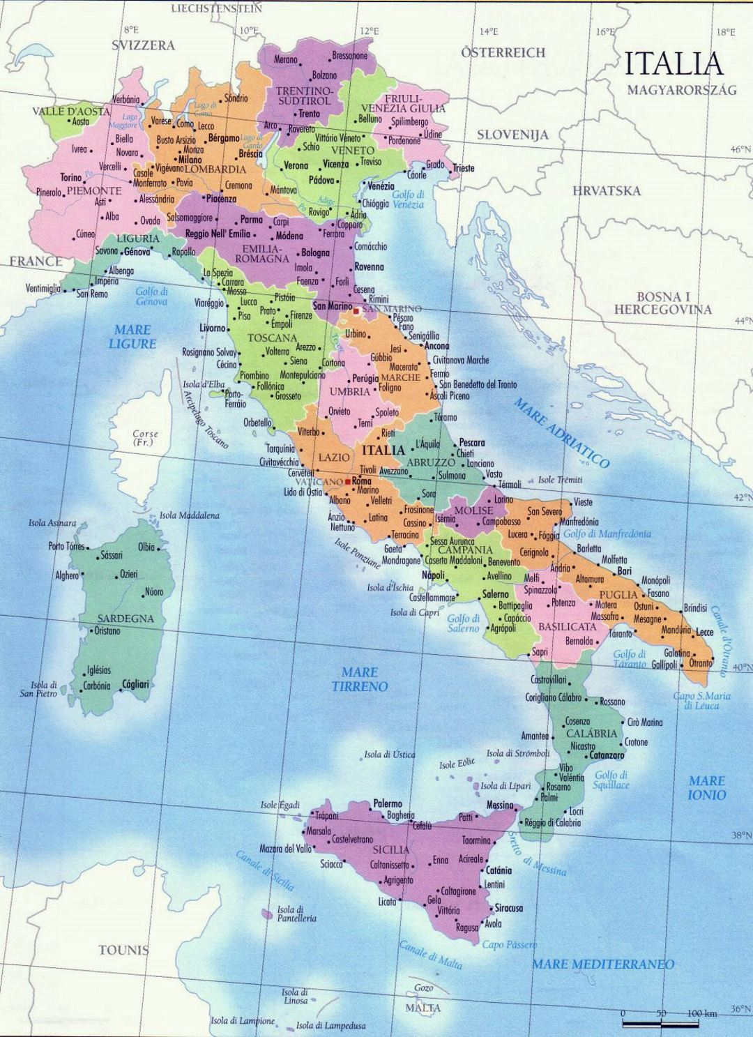Detailed regions map of Italy with major cities Italy Europe