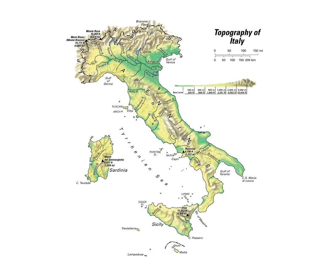 Detailed topography map of Italy