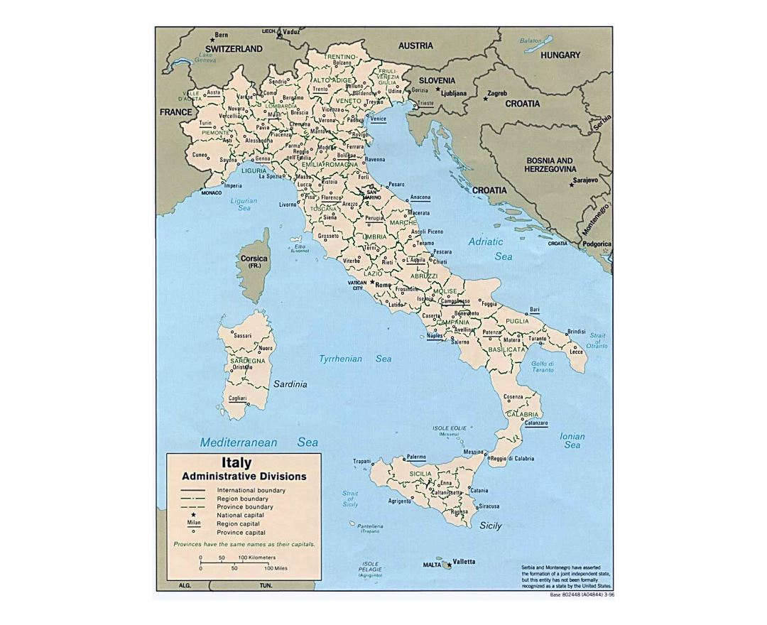 Large administrative divisions map of Italy - 1996