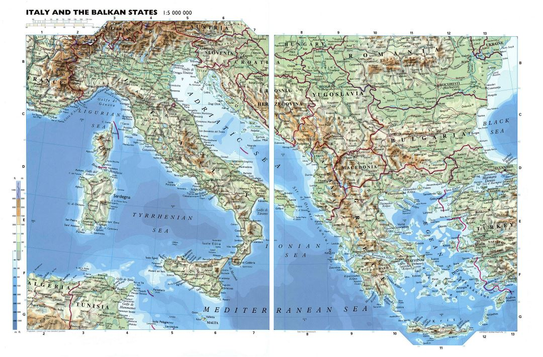Large detailed physical map of Italy and the Balkan States with roads and major cities