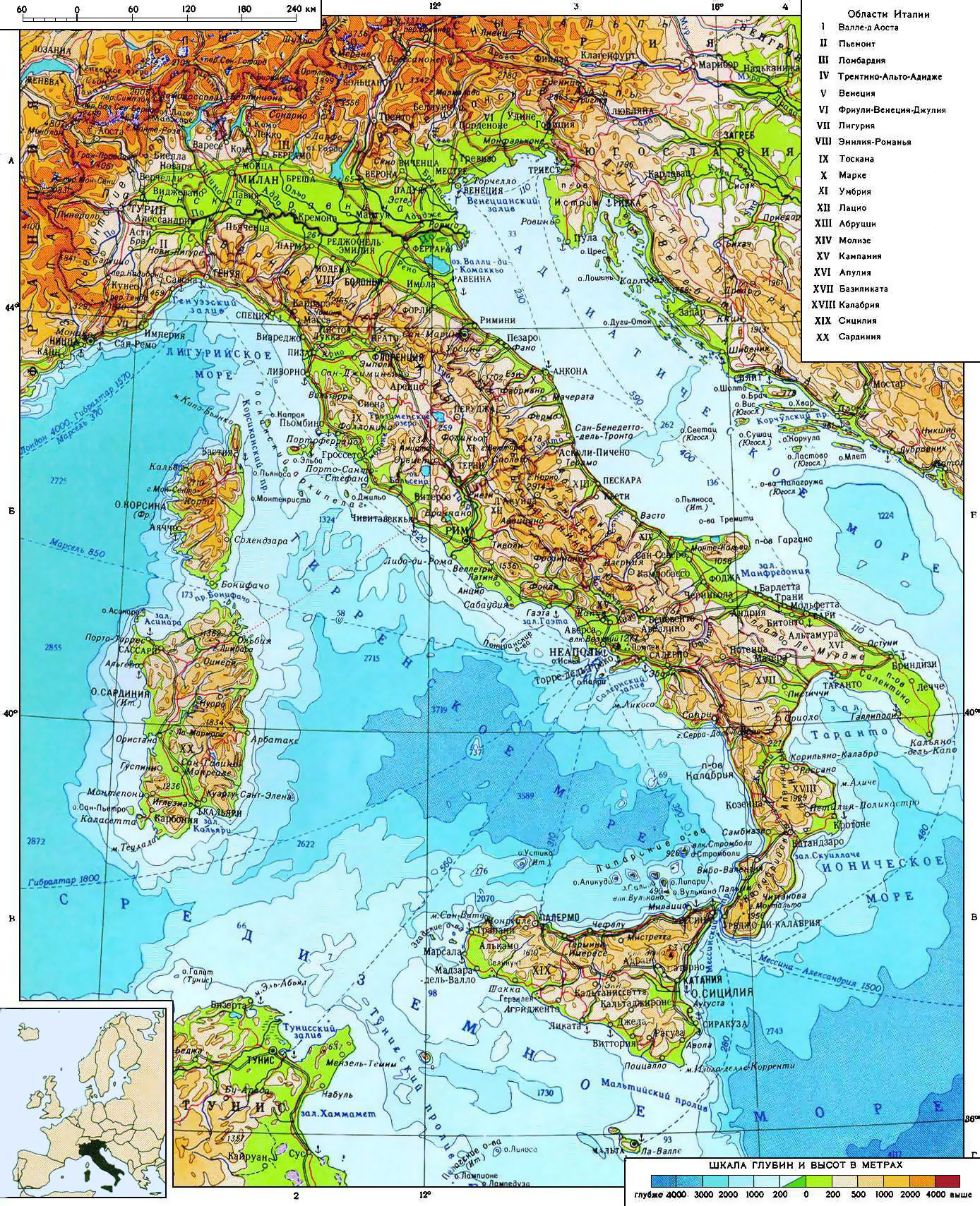 Large detailed physical map of Italy in russian Italy Europe