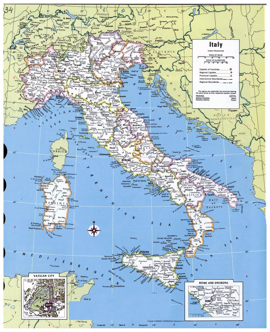 Large detailed political and administrative map of Italy with major cities