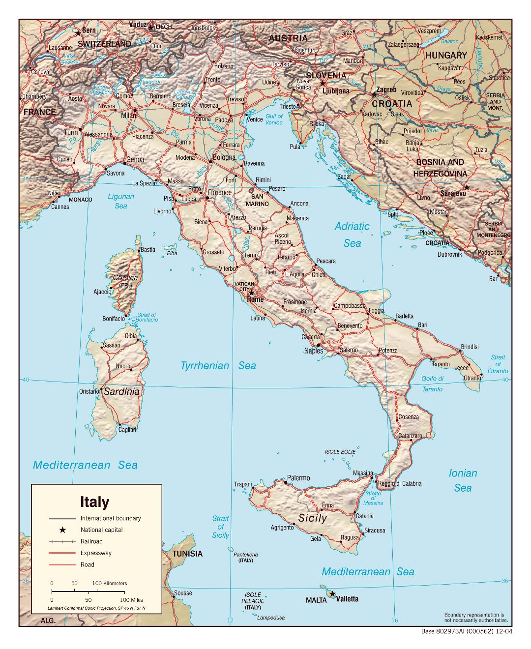 Large detailed political map of Italy with relief roads and major