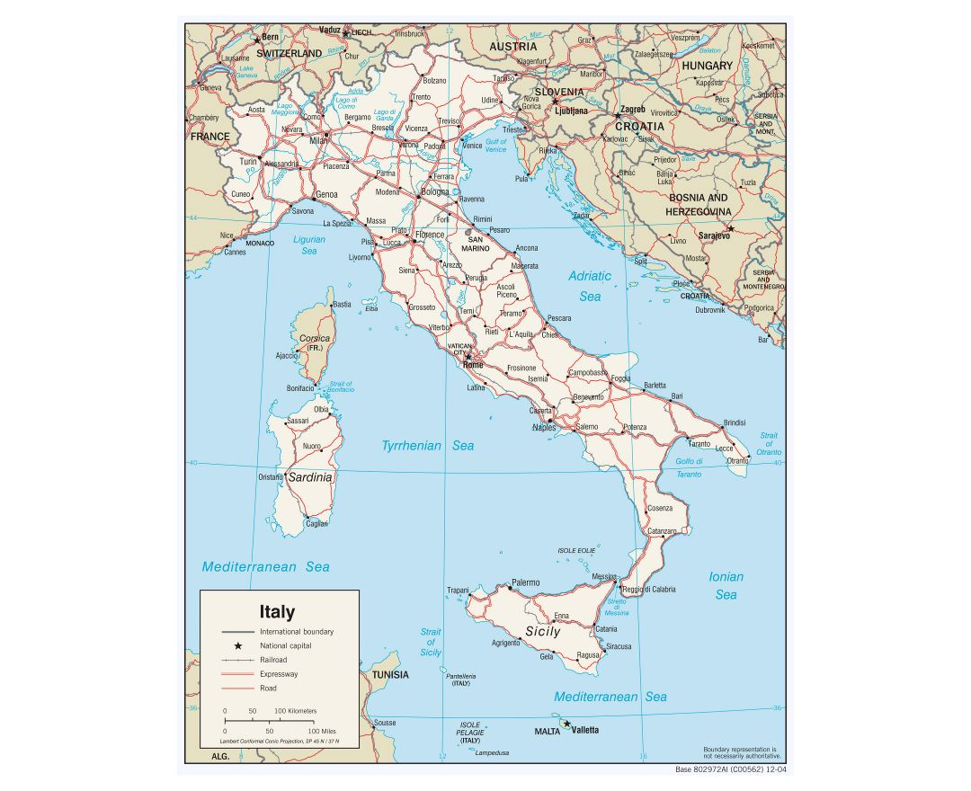 Large detailed political map of Italy with roads and major cities - 2006