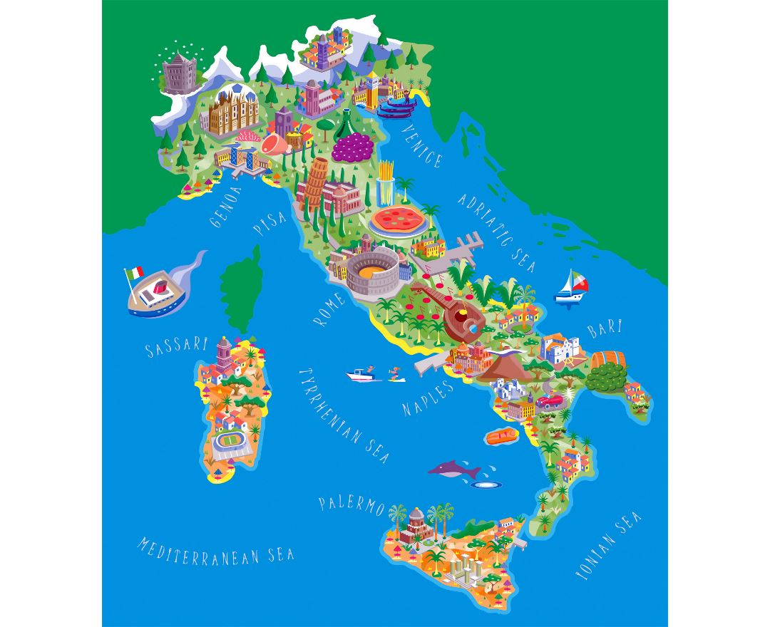 Large detailed tourist illustrated map of Italy