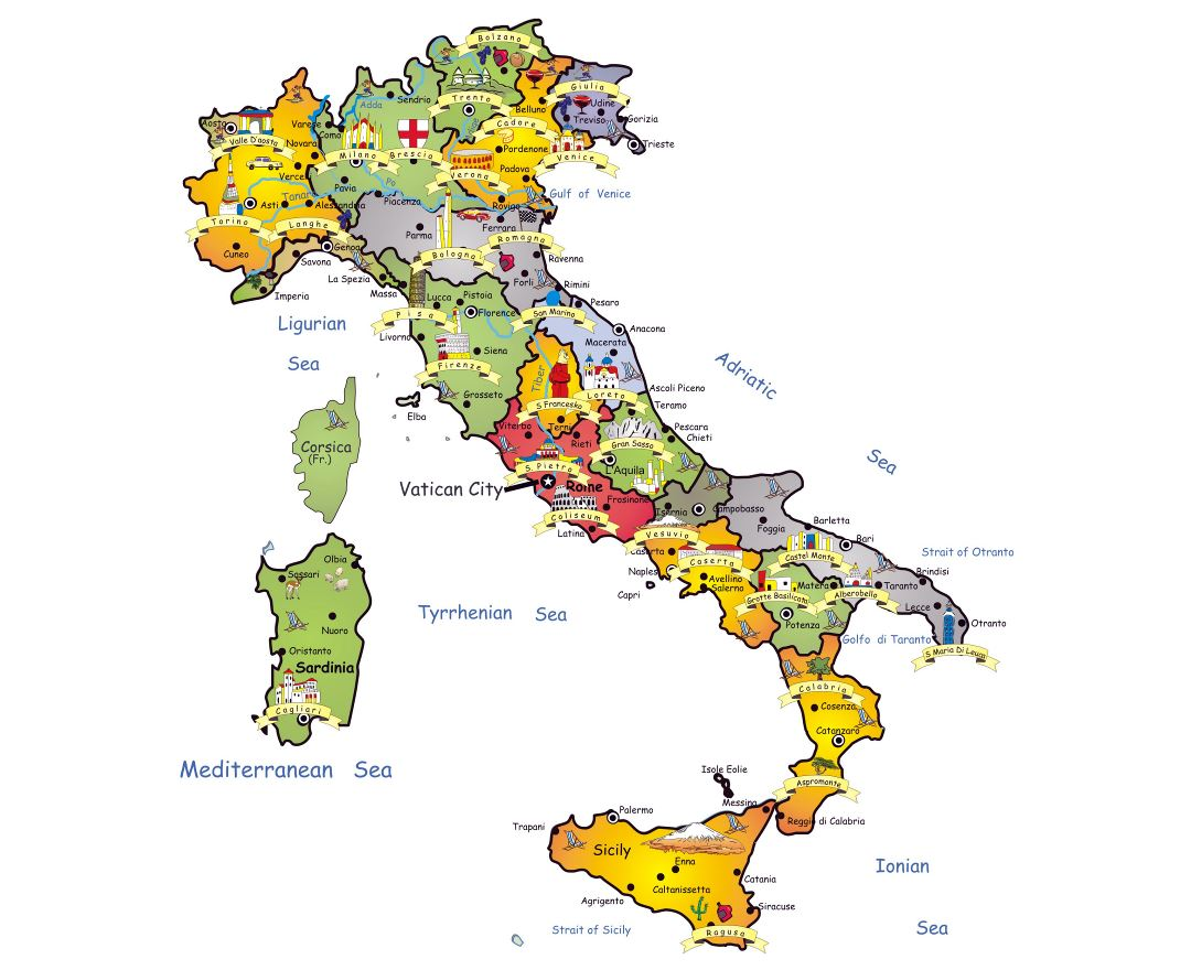 Large detailed tourist map of Italy