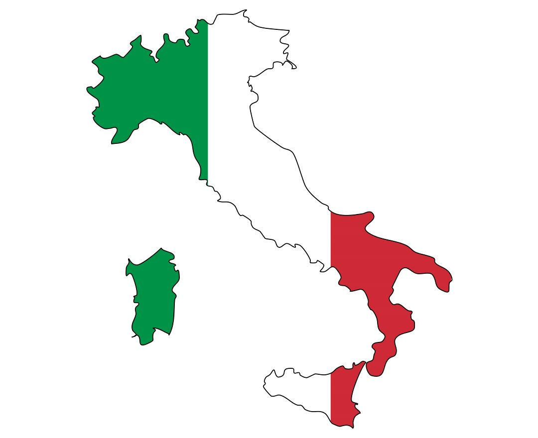 Large flag map of Italy