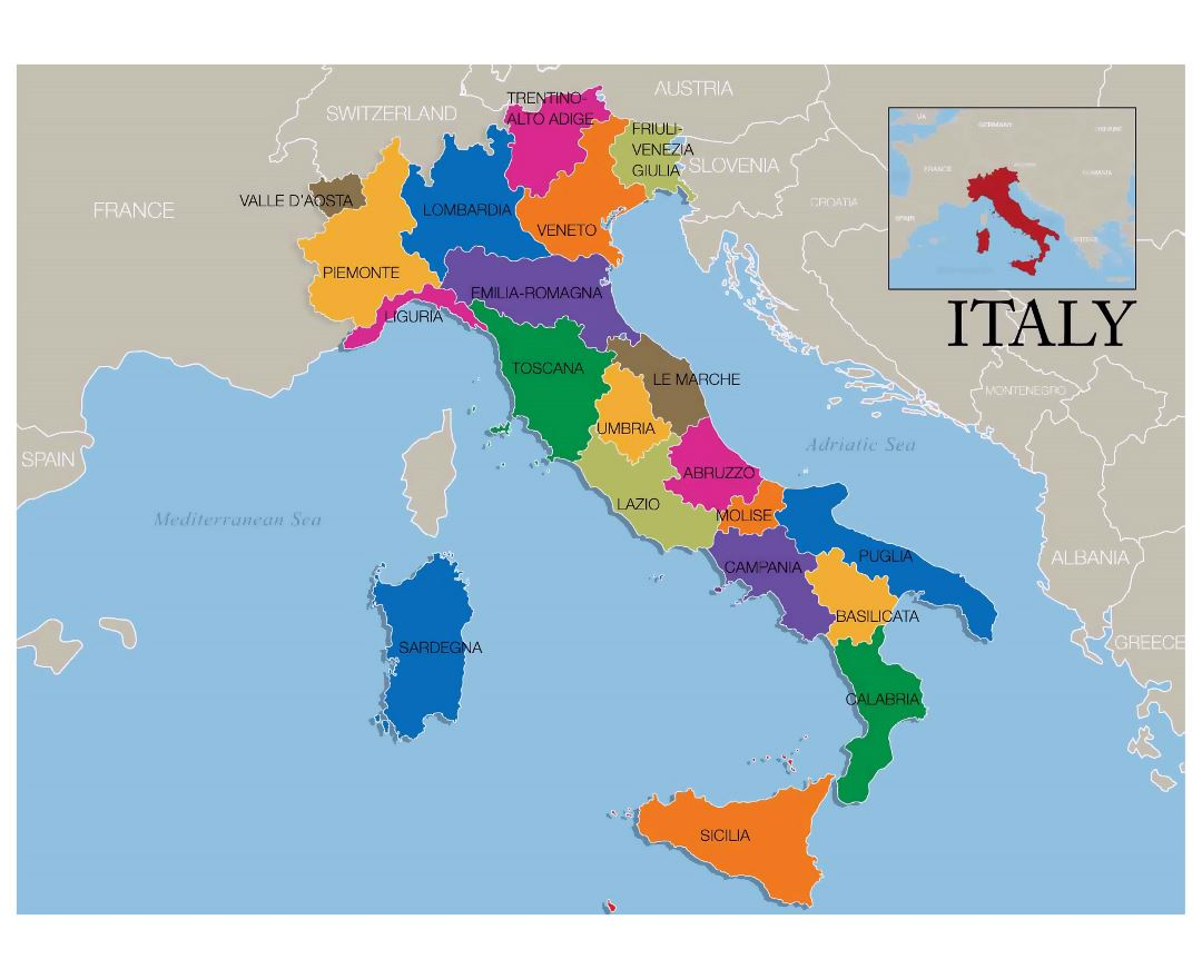 Large map of Wine Regions of Italy