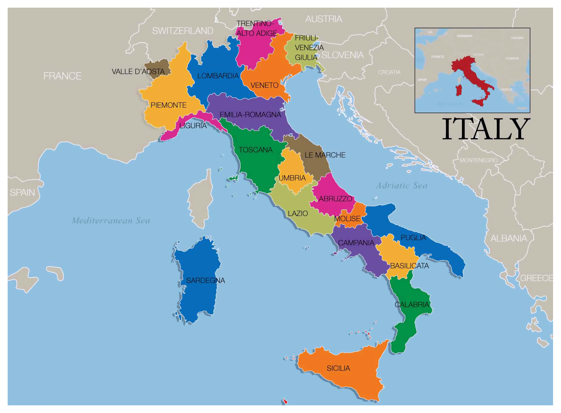 Map Of Europe Showing Italy.Large Map Of Wine Regions Of Italy Italy Europe Mapsland