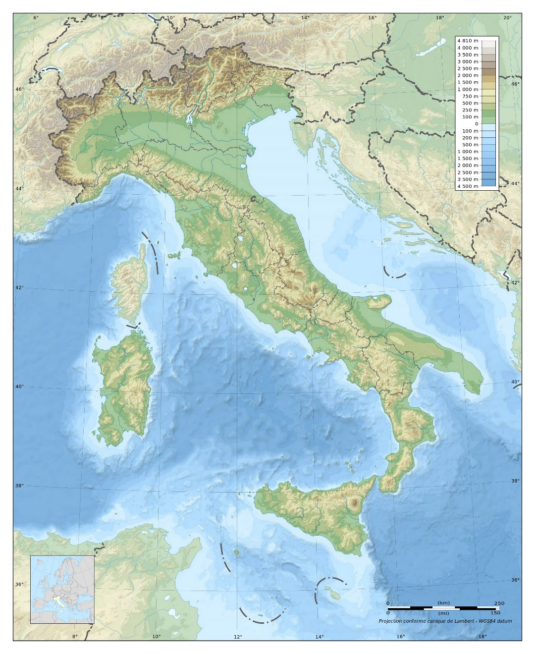 Large physical map of Italy