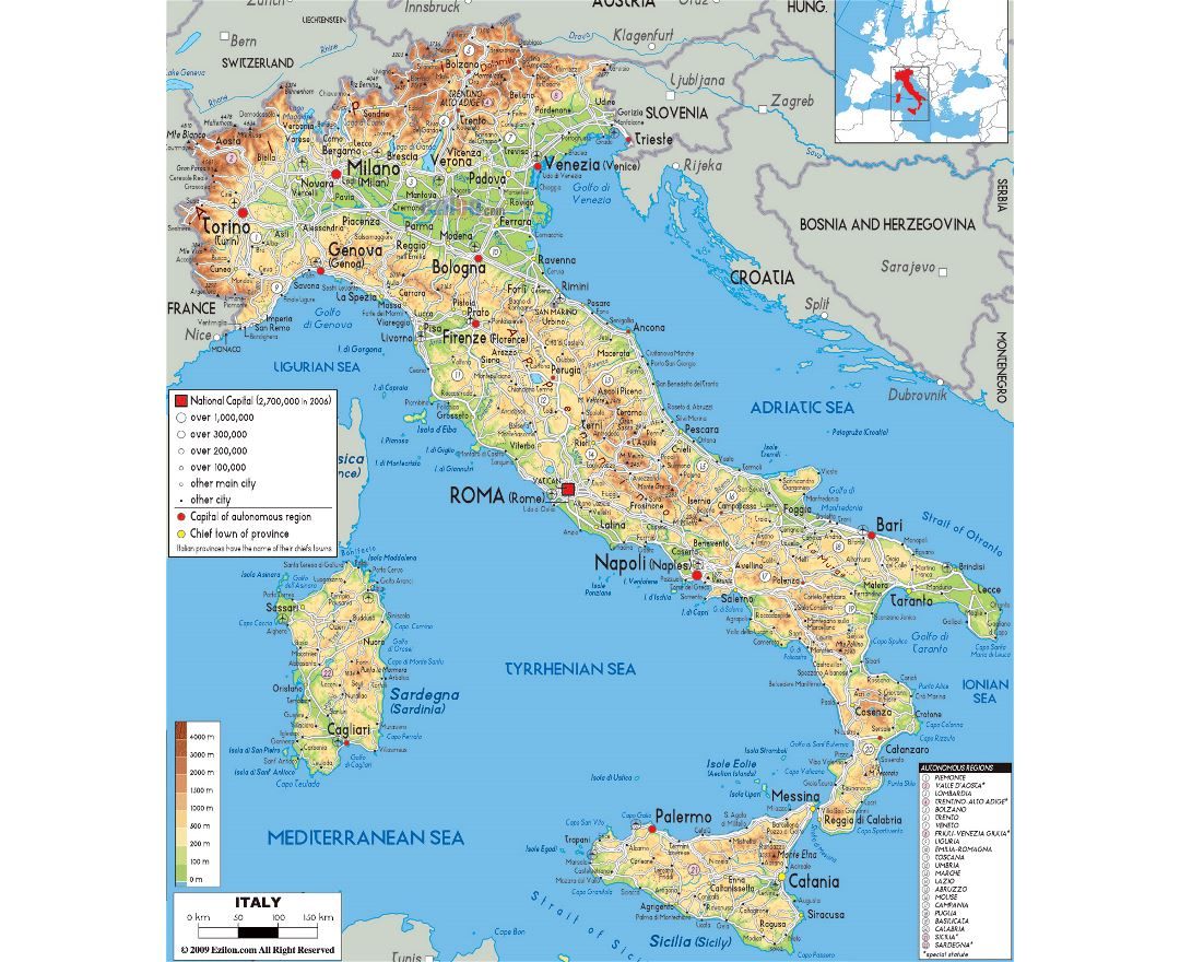Detailed Map Of Italy In English.Maps Of Italy Collection Of Maps Of Italy Europe Mapsland