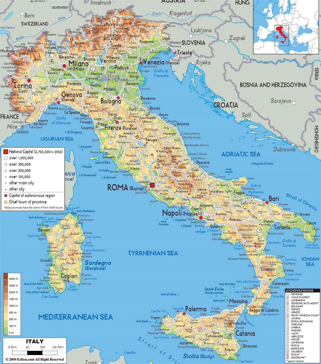 Large physical map of Italy with roads, cities and airports