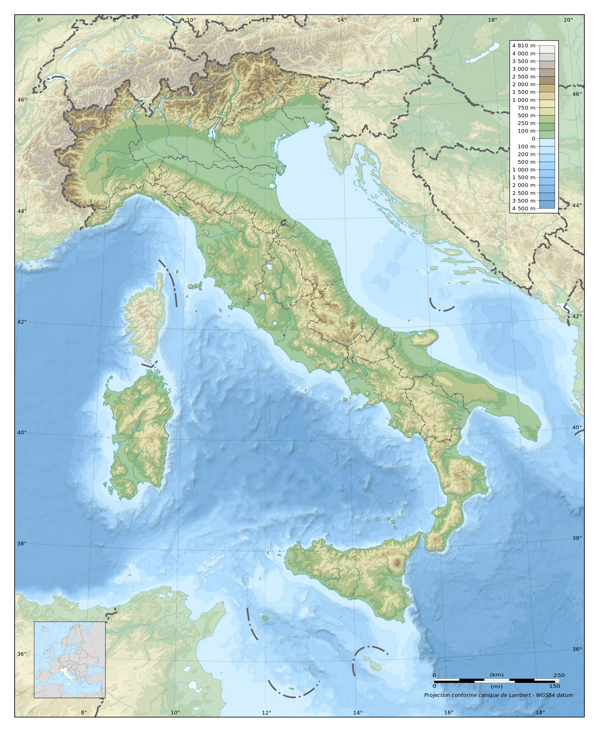 Large physical map of Italy | Italy | Europe | Mapsland ...