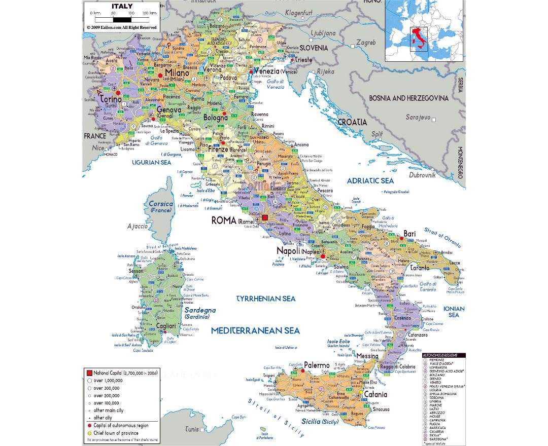Large political and administrative map of Italy with roads, cities and airports