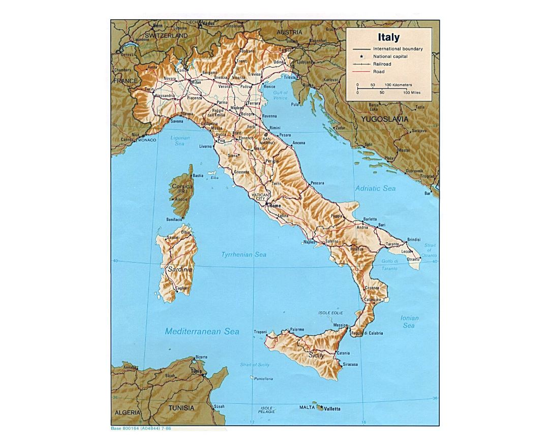 Large political map of Italy with relief, roads, railroads and major cities - 1986