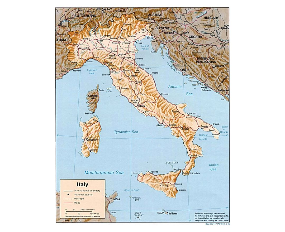Large political map of Italy with relief, roads, railroads and major cities - 1996