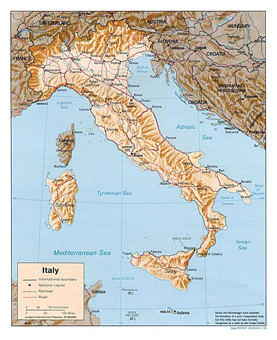 Large political map of Italy with relief roads railroads and major