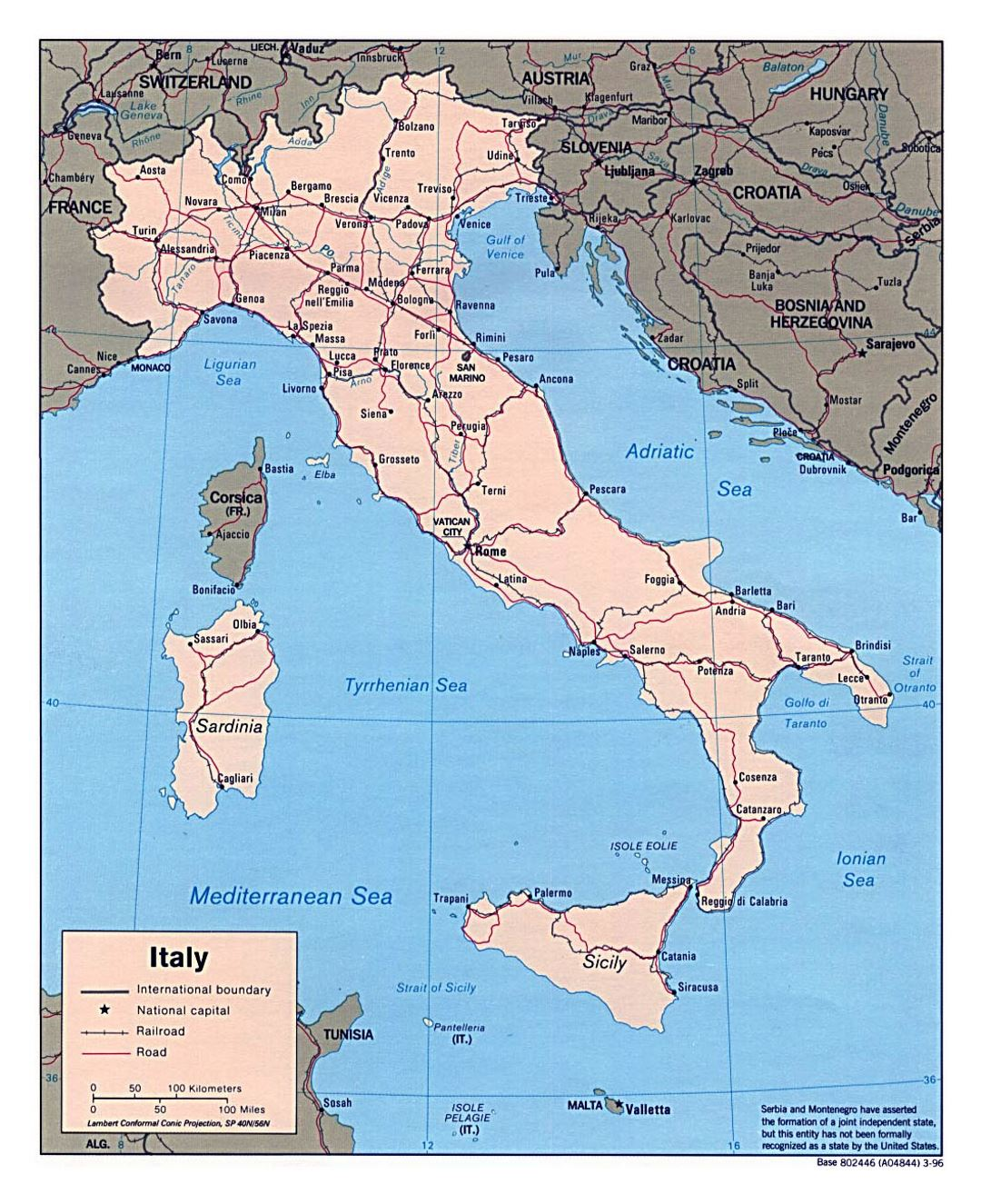 Large political map of Italy with roads, railroads and major cities - 1996