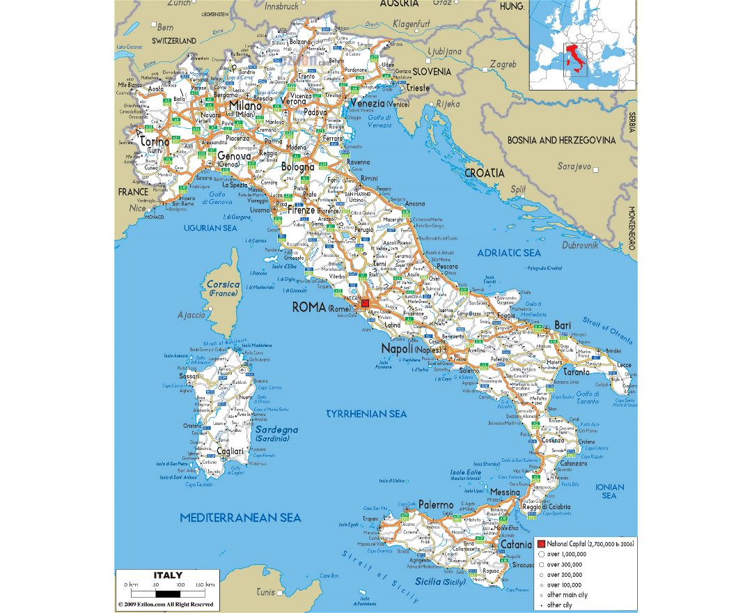 Map Of Italy And Austria With Cities.Maps Of Italy Collection Of Maps Of Italy Europe Mapsland