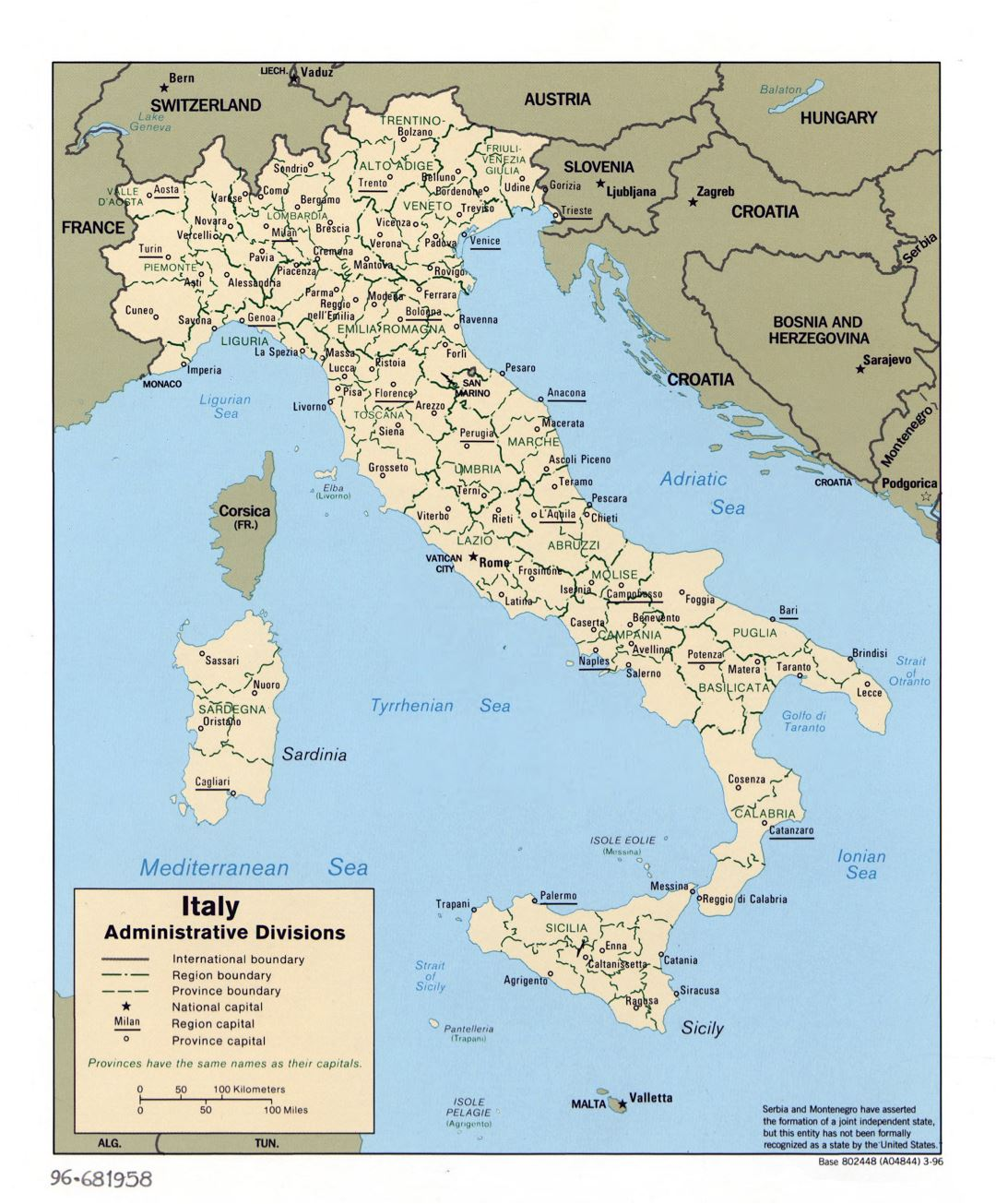 Large scale administrative divisions map of Italy - 1996